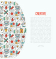 creative concept with thin line icons vector image vector image