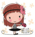 cute cartoon girl with ladybug vector image vector image