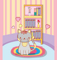 cute cat in the rug with bookcase and hearts vector image vector image