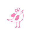 cute happy female bird pink coloured symbol vector image vector image
