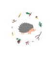 cute hedgehog minimalistic vector image