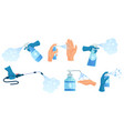 disinfection spray in hand hands sanitizer vector image