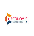 e letter icon for economic education vector image vector image