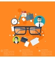 Flat background with papers and glasses icon vector image vector image