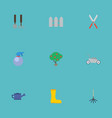 flat icons lawn mower green wood tools and other vector image