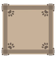 frame beige background with paw prints animals vector image vector image