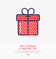 gift with ribbon thin line icon vector image