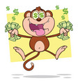 greedy monkey character jumping with cash money vector image vector image