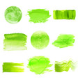 green watercolor logo design template spots set vector image vector image