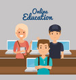 group of students with online education vector image vector image