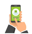 hand holding smartphone with donate button on its vector image