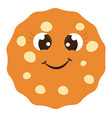 happy cookie on white background vector image vector image