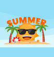 happy sun smiling on tropical beach summer vector image vector image