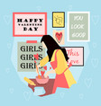 happy valentines day with girl cooking food in vector image vector image