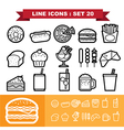 Line icons set 20 vector image vector image