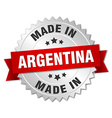 made in Argentina silver badge with red ribbon vector image vector image