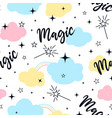 magical icons print design with a slogan seamless vector image vector image