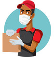 male fast food worker wearing protective mask and vector image