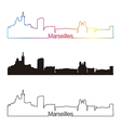 Marseilles skyline linear style with rainbow vector image vector image