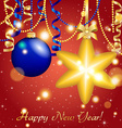 New Year greeting card Christmas Star Ball with vector image vector image