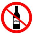 No vodka bottle sign vector image