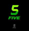 number five green ribbon sport emblem vector image