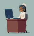 nurse doctor work computer reception african woman vector image