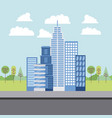 park and city buildings vector image