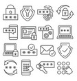 password line icons set on white background vector image vector image
