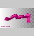 pink realistic silk ribbon vector image vector image