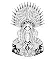 Portrait of Indian head with zentangle War vector image vector image