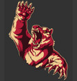 retro angry bear attacking roaring isolated vector image vector image