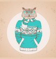 retro hipster bird owl dressed in pullover vector image vector image