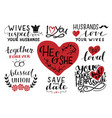 set 9 hand lettering quotes about he and she vector image