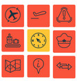 set of 9 travel icons includes locate briefcase vector image vector image