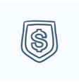Shield with dollar symbol sketch icon vector image vector image