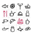simple food icons set vector image vector image