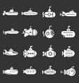 submarine icons set grey vector image