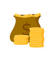 symbol cash golden coins in bag dollar vector image vector image