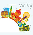 venice skyline with color buildings blue sky and vector image vector image