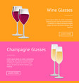wine and champagne glasses set web posters vector image vector image