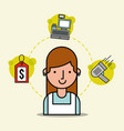 woman cartoon employee supermarket tag price cash vector image