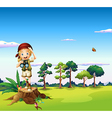 A girl with a telescope standing above a stump vector image vector image