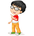 Asian boy wearing glasses vector image vector image