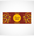 autumn leaves banner claret red background vector image