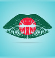 bangladesh flag lipstick on the lips isolated on a vector image vector image