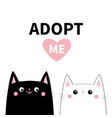 black white cat set adopt me pink heart cute vector image