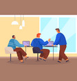 business partners at office desk with laptops vector image vector image