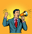businessman with megaphone pop art style vector image vector image