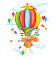 cheerful travel to a hot air balloon vector image vector image